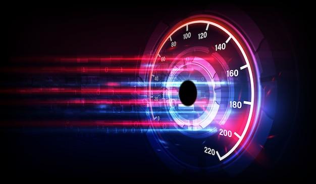 Geschwindigkeitsbewegungshintergrund mit schnellem tachoauto. hintergrund der renngeschwindigkeit.