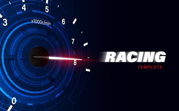 Geschwindigkeitsbewegungshintergrund mit schnellem tachoauto.