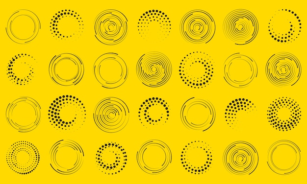 Geschwindigkeitslinien in kreisform. geometrische kunst. satz schwarze dicke gepunktete halbton-geschwindigkeitslinien. gestaltungselement für rahmen, logo, tätowierung, webseiten, drucke, plakate, schablone, abstrakten hintergrund.