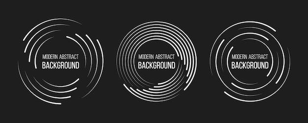 Geschwindigkeitslinien in kreisform set aus schwarzen, dicken, halbtongepunkteten geschwindigkeitslinien