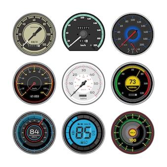 Geschwindigkeitsmesser-armaturenbrett des geschwindigkeitsmessers und illustrationssatz zur beschleunigungsleistungsmessung der geschwindigkeitsbegrenzungssteuerungstechnologie mit pfeil oder zeiger auf weißem hintergrund