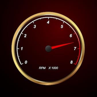 Geschwindigkeitsmesser. runde skalen auf schwarzem hintergrund. v