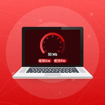 Geschwindigkeitstest auf laptop. geschwindigkeitsmesser internet speed 50 mb. ladezeit der website. .