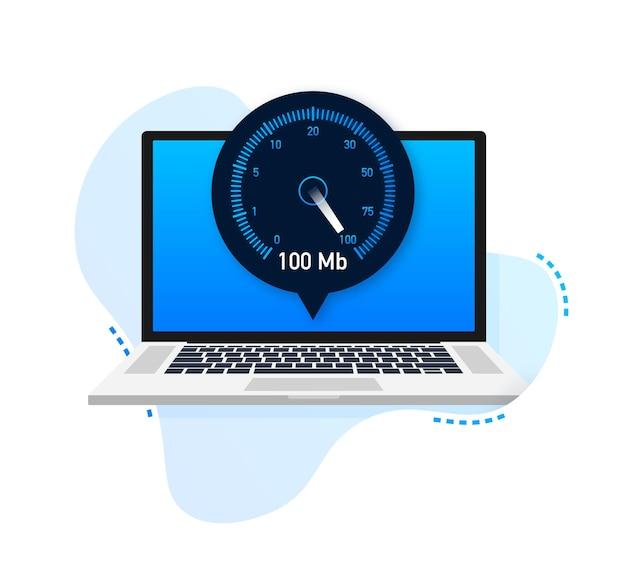 Geschwindigkeitstest auf laptop geschwindigkeitsmesser internetgeschwindigkeit 100 mb ladezeit der website-geschwindigkeit