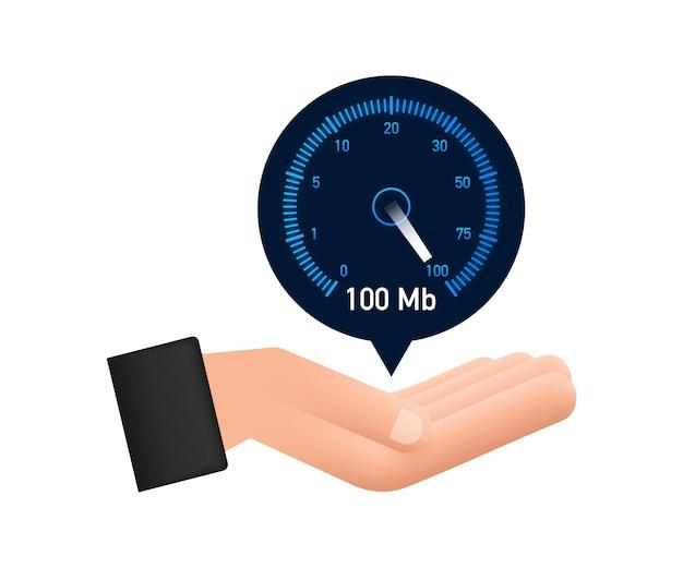 Geschwindigkeitstest in die hände legen geschwindigkeitsmesser internetgeschwindigkeit ladezeit der website-geschwindigkeit