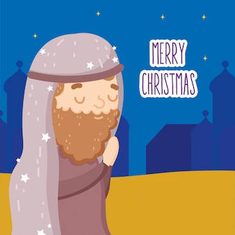 Gesegneter joseph, der krippenkrippe, frohe weihnachten betet