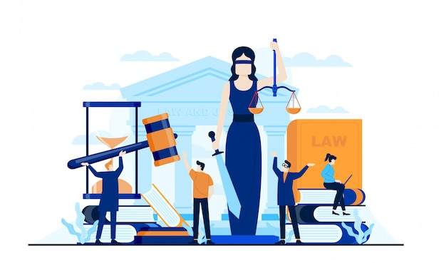 Gesetz gerechtigkeit flache illustration