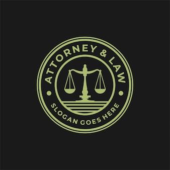 Gesetz logo design mit kreis abzeichen.