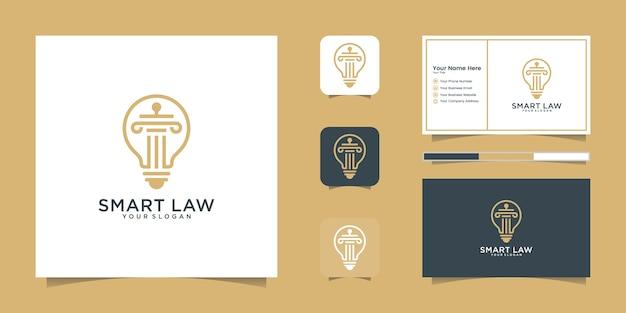 Gesetz-logo mit symbolstil der intelligenten idee und visitenkartenschablone