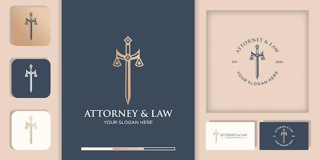 Gesetz logo, schwert der gerechtigkeit und visitenkarte
