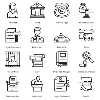 Gesetz und gerechtigkeit linie icons pack