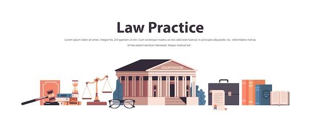 Gesetz und gerechtigkeit setzen hammer richter bücher skalen gerichtsgebäude ikonen sammlung horizontale kopie raum vektor-illustration