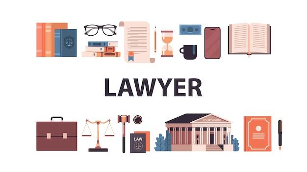 Gesetz und gerechtigkeit setzen hammer richter bücher skalen gerichtsgebäude ikonen sammlung horizontale vektor-illustration