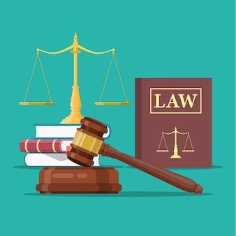 Gesetz und gerechtigkeit symbol gesetzt,