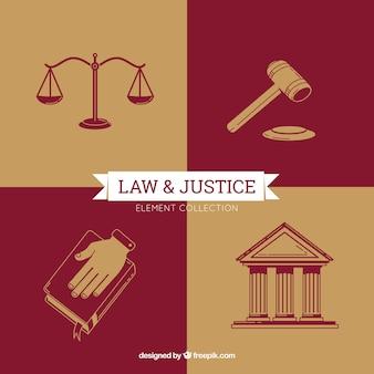 Gesetz- und gerechtigkeitselemente mit moderner art