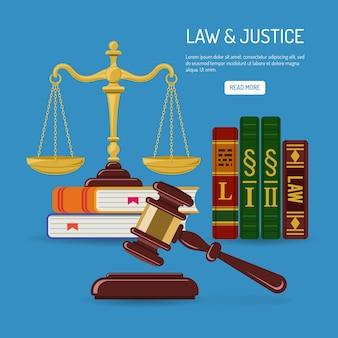 Gesetz- und gerechtigkeitskonzept mit flachen symbolen gerechtigkeitsskalen, richterhammer, gesetzesbücher. isolierte vektorillustration