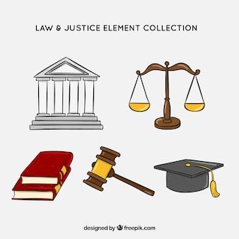 Gesetz- und gerechtigkeitssammlung mit hand gezeichneter art