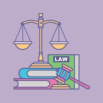 Gesetz und justiz-vektor-illustration design-elemente-symbole und symbole