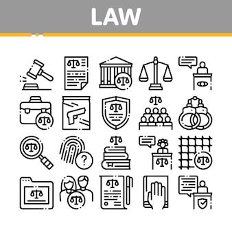Gesetz und urteil sammlung icons set