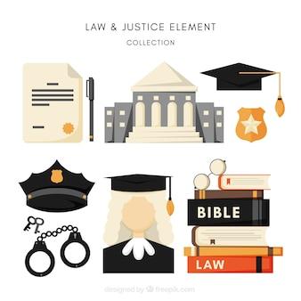 Gesetzes- und gerechtigkeitselemente mit flacher auslegung