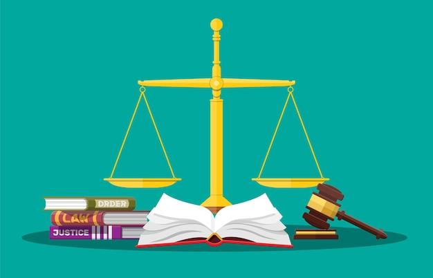Gesetzesbücher, justizwaagen und richterhammer. gesetz urteil strafe ordnung gerechtigkeit. hammer aus holz. rechts- und gesetzgebungsbehörde. vektorillustration im flachen stil
