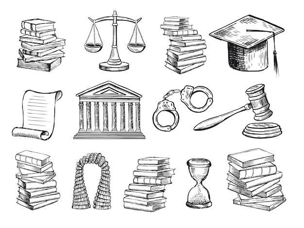 Gesetzessymbole stellen handgezeichnete illustrationen ein