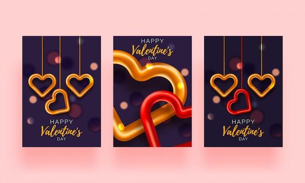 Gesetzte broschüre des liebeshintergrundes. geschenk-poster-karte. verkaufsfahnenschablone für valentinstag. banner mit herzen und geschenken.