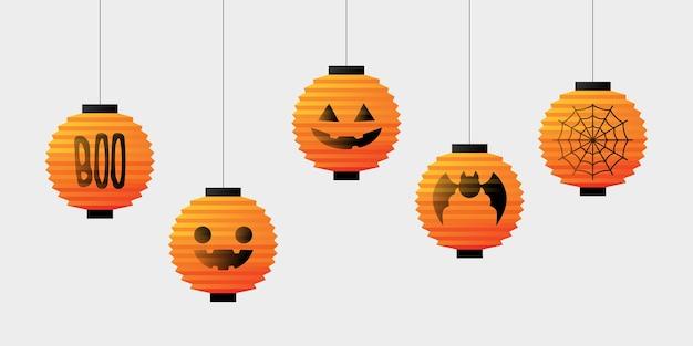 Gesetzte bündel hängende illustration des halloween-laternenvektors