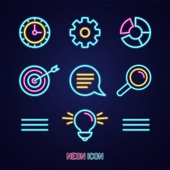 Gesetzte bunte ikone des geschäftsmarketings einfachen leuchtenden neonentwurfs auf blau