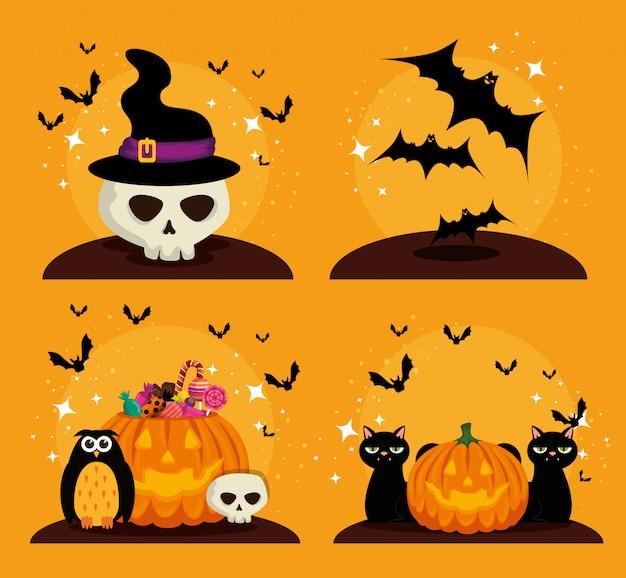 Gesetzte elemente der glücklichen halloween-feier