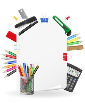 Gesetzte elementvektorillustration des briefpapiers
