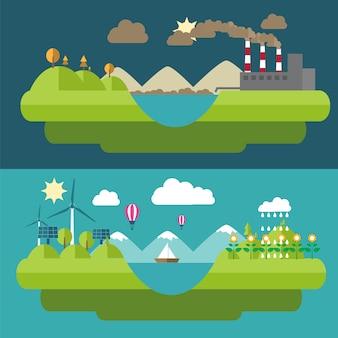 Gesetzte flache designillustrationen mit ikonen der umwelt, der grünen energie und der verschmutzung. flaches design der ökologie, flache ökologieenergie, flache ökologie der ikone