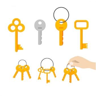 Gesetzte flache karikatur des schlüsselbündelvektors oder -schlüssels, die am ringvektor hängen