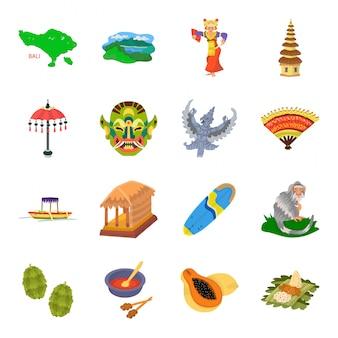 Gesetzte ikone bali von indonesien-karikatur. indonesische reise. lokalisierte gesetzte ikone bali der karikatur von indonesien.