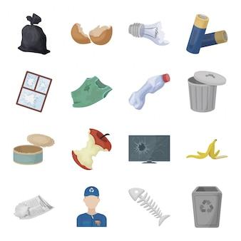 Gesetzte ikone der abfall- und abfallkarikatur. abfall und abfall lokalisierte gesetzte ikone der karikatur. illustration müll und müll.