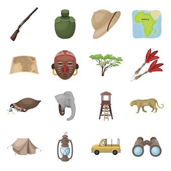 Gesetzte ikone der afrikanischen safari-karikatur. tier. lokalisierte gesetzte ikonenafrikanersafari der karikatur.