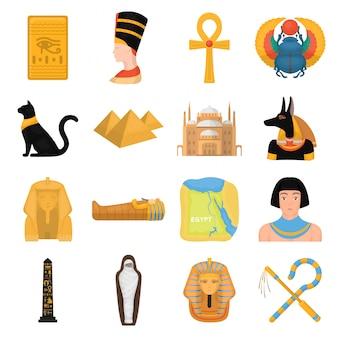 Gesetzte ikone der alten ägypten-karikatur. getrennter gesetzter ikonen-alter ägypter der karikatur. abbildung alten ägypten.