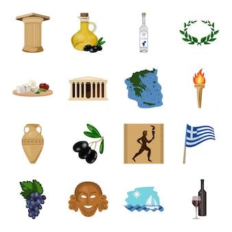 Gesetzte ikone der alten griechenland-karikatur. abbildung antike griechische. isolierte cartoon-set-symbol altes griechenland.