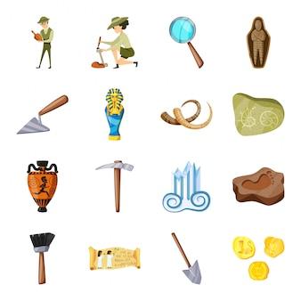 Gesetzte ikone der archäologiekarikatur. altes artefakt. lokalisierte gesetzte ikonenarchäologie der karikatur.