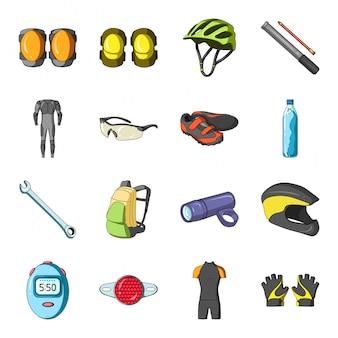 Gesetzte ikone der ausstattungsfahrrad-karikatur. fahrradsport. lokalisiertes gesetztes ikonen-ausstattungsfahrrad der karikatur.