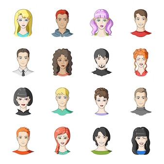 Gesetzte ikone der avatara- und gesichtskarikatur leute der porträt lokalisierten gesetzten ikone der karikatur. avatar und gesicht.