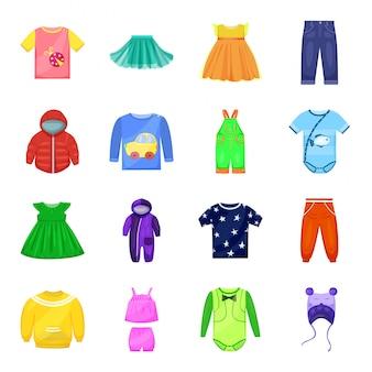 Gesetzte ikone der babykleidungs-karikatur. lokalisiertes gesetztes ikonenkinderkleid der karikatur. babykleidung .