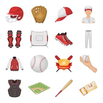 Gesetzte ikone der baseballkarikatur. lokalisierter gesetzter ikonensportspieler der karikatur. baseball.