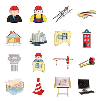 Gesetzte ikone der bauarchitekten-karikatur. illustrationsarchitekturprojekt. lokalisierter gesetzter ikonenbauarchitekt der karikatur.