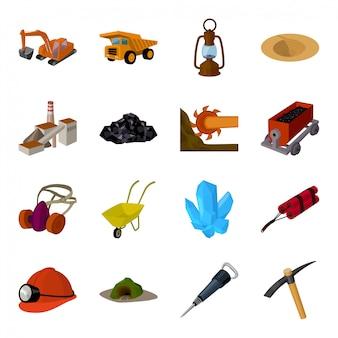 Gesetzte ikone der bergbauindustrie-karikatur. gesetzte ikone der feineren lokalisierten karikatur. illustration bergwerk fabrikindustrie.