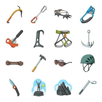 Gesetzte ikone der bergsteiger- und gebirgskarikatur. extremes abenteuer. getrennter gesetzter ikonenbergsteiger und -berg der karikatur.