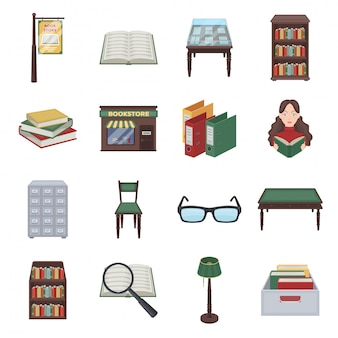 Gesetzte ikone der bibliothek und der buchkarikatur. illustration buchhandlung. lokalisierte gesetzte ikonenbibliothek und -buch der karikatur.
