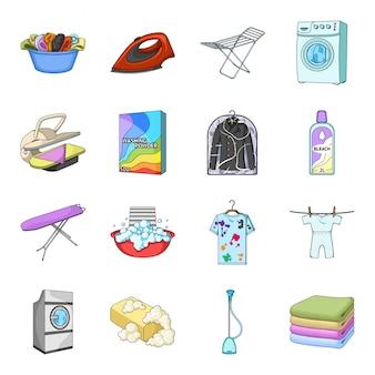 Gesetzte ikone der chemischen reinigungskarikatur. wäscherei-service . getrennte gesetzte chemische reinigung der ikone der karikatur.