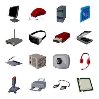 Gesetzte ikone der computerkarikatur zubehörlaptop lokalisierte gesetzte ikone der karikatur. abbildung computer.