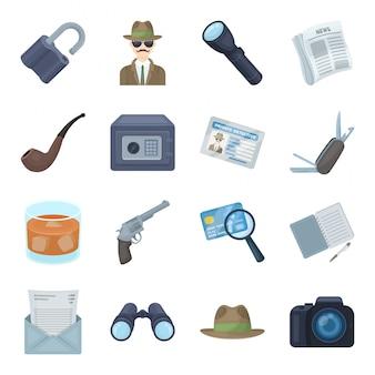 Gesetzte ikone der detektivkarikatur. verbrechen und polizei lokalisierten gesetzte ikone der karikatur. detektiv.